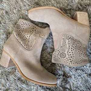 Gorgeous cream suede cutout booties